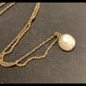 Real pearl pendant gold necklace